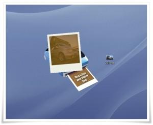 poladroid 現像後、徐々に画像が現れてきます